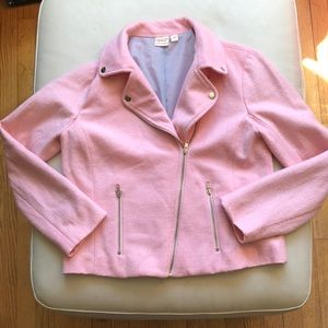 Ace Delivery Pink wool moto jacket